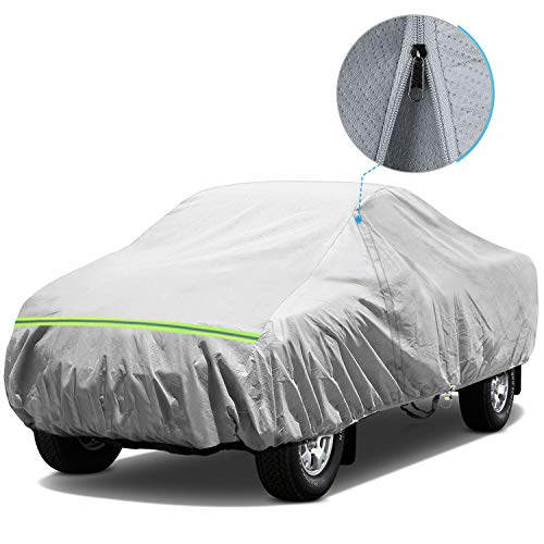 KAKIT Waterproof Truck Cover, 5 Layers All Weather UV Protection Car Cover with Driver Door Zipper for Truck Pickup, Fits up to 242
