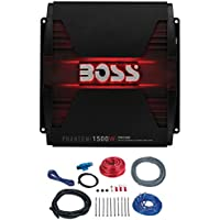 BOSS Audio PM1500MK - Phantom 1500 Watt, 2/4 Ohm Stable Class A/B, Monoblock, Mosfet Car Amplifier with 8 Gauge Wiring Installation Kit and Remote Subwoofer Control