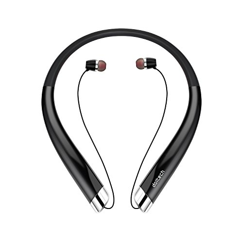 Bluetooth Headphones, DolTech Stereo Wireless Headset Neckband Retractable Sport Earbuds with Mic, Sweatproof Bluetooth 4.1 for iPhone IOS Android (990 Black) (Stereo Retractable Headset)