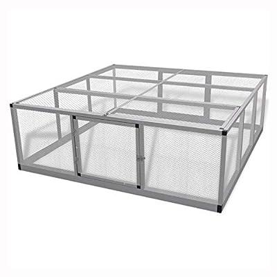 "K&A Company Small Animal Habitat & Cage, Chicken Coop Aluminum 71.7""x71.7""x24"""