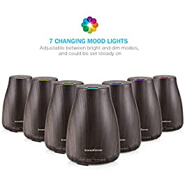 InnoGear Upgraded Aromatherapy Essential Oil Diffuser Portable Ultrasonic Diffusers Cool Mist Humidifier with 7 Colors LED Lights and Waterless Auto Shut-off for Home Office Bedroom