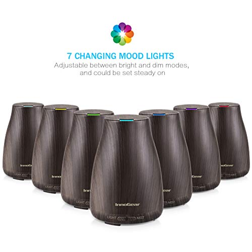 InnoGear Upgraded Wood Grain Aromatherapy Ultrasonic Diffusers Humidifier LED Lights and Auto Shut-off for Home Office