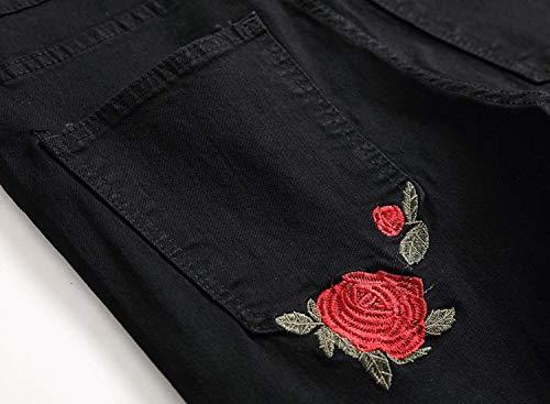 Uomo Jeans Afterrose A Bassa Pants Vintage Strappati Eleganti Vita Elasticizzati Skinny Dritti Giovane Denim Da Pantaloni 0afqxX