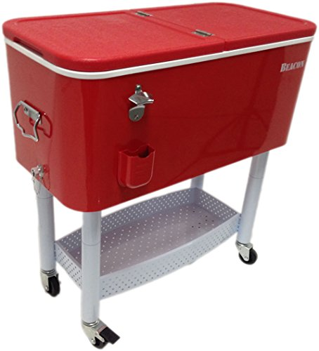 BEACON Rolling Party Cooler, Red Steel with metal storage...