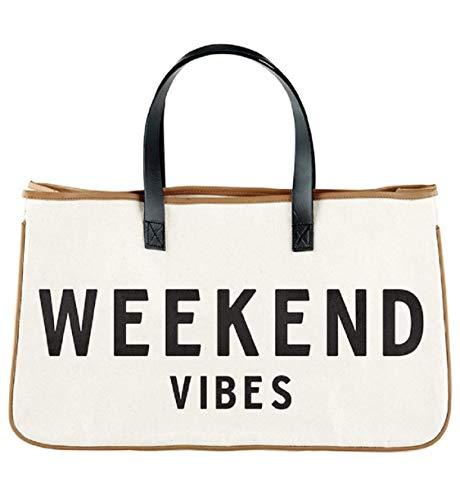 Weekend Vibes Canvas Beach Bag, Beach Tote, Carry Bag by Santa Barbara Design Studio (Weekend Vibes)