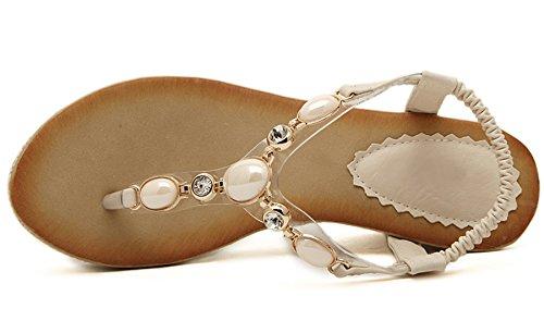 Mujer Thong Sandalias Verano Playa Bohemio Con brillo Perla Tacón alto Cuña Sandalias de BIGTREE Beige