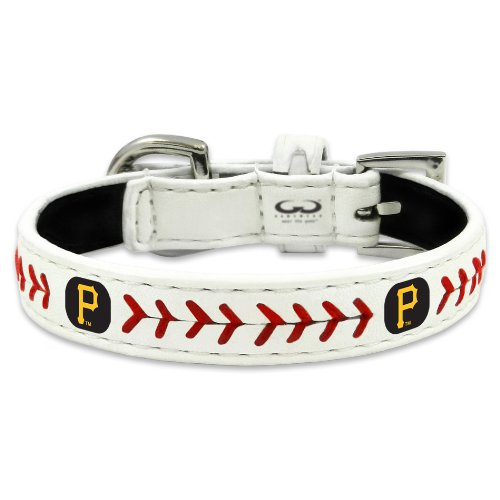 Pittsburgh Pirates Leather Baseball - MLB Pittsburgh Pirates Classic Leather Baseball Dog Collar (Large)