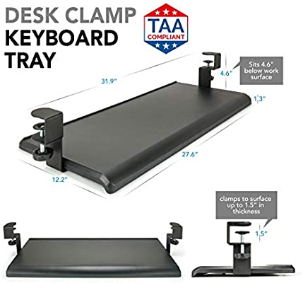 27.5 x 12.25 EHO Prime Keyboard Tray Under Desk with C Clamp-Large Size for Home or Office