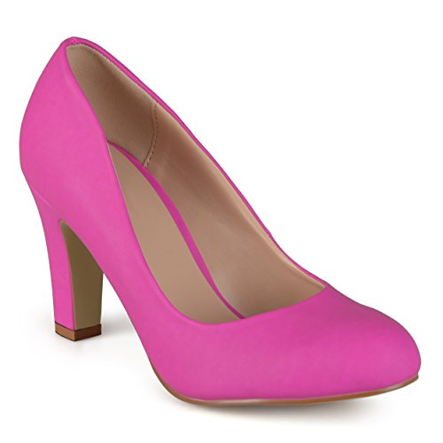 omens Matte Finish Chunky Heel Pumps Pink, 10 Regular US (Pink Leather Finish)