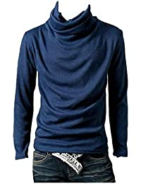 Coolred Men's Long Sleeve Plus Size Solid Cowl Neck Tops T-shirt Tees