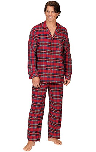 - PajamaGram Mens Flannel Pajamas Sets - Cotton Mens Pajamas, Button Top, Red, XL