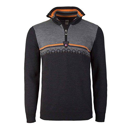 Dale of Norway Lahti Masculine Sweater, Dark Charcoal/Orange Peel/Smoke, Medium