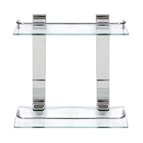 MODONA Double Glass Wall Shelf with Rail - Polished Chrome - 5 Year Warrantee
