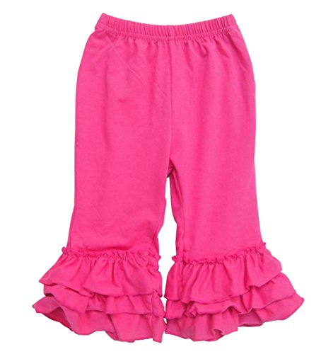 Messy Code Baby Girls Hot Pink Pants Solid Color Toddlers Trousers with Ruffles 5T