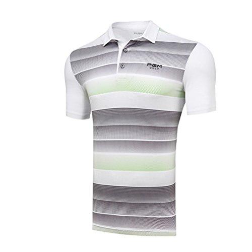 Kayiyasu ポロシャツ メンズ ゴルフウェア UVカット ゴルフシャツ オシャレ スポーツシャツ 男性用 半袖 Tシャツ 運動着 日焼け止め 021-xsty-yf112(L グリーン)