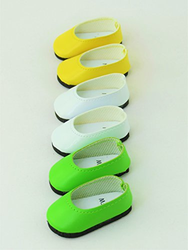 3 pack of Slip On Shoes: White, Yellow, and Lime| Fits 14