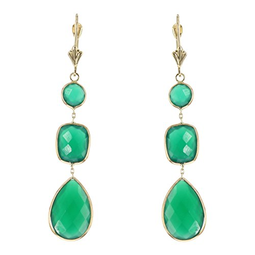 - 14k Yellow Gold Gemstone Earrings With Dangling Green Onyx