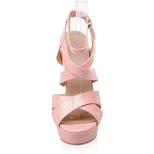 Wommen Buckle Sandals High Party Cross Pink LongFengMa Straps Heel Sexy Shoes 16Rx5TS