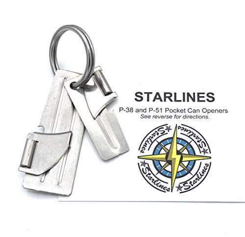 Set of P-38 and P-51 Military Can Openers, Made in USA, with Key Ring (3-piece bundle)