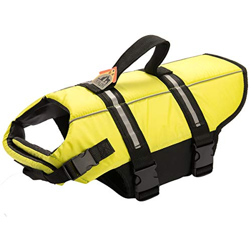 (Hollypet Dog Life Jacket Adjustable Dog Lifesaver Safety Reflective Vest Pet Life Preserver with Rescue Handle M Neon Yellow)