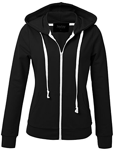JayJay Women Athlete Stretchy Full Zip Jersey Fashion Running Hoodie Long Sleeve (Cycling Womens Zip Hoodie)