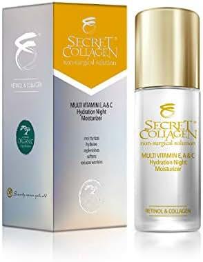 Secret Collagen Night Face Moisturizer - Anti-Aging Moisturizer w/Retinol & Fruit Stem Cells - Overnight Skin Firmer and Wrinkle Corrector - Antiaging Dark Spots & Line Repair for Face & Neck