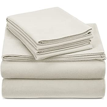 Pinzon Signature 190-Gram Cotton Heavyweight Velvet Flannel Sheet Set - King, Cream