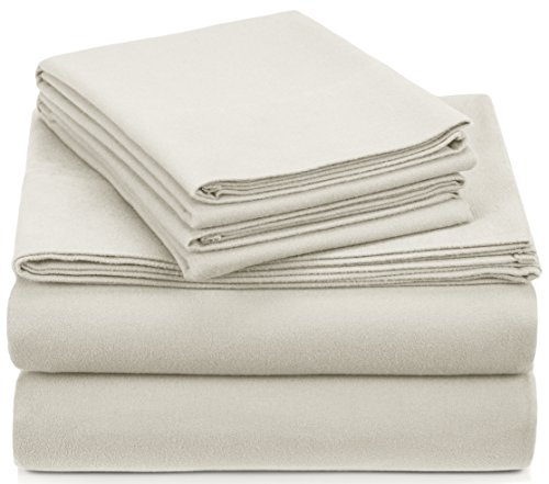 Pinzon Signature 190-Gram Cotton Heavyweight Velvet Flannel Sheet Set - Queen, Cream - Stitch Coverlet Set