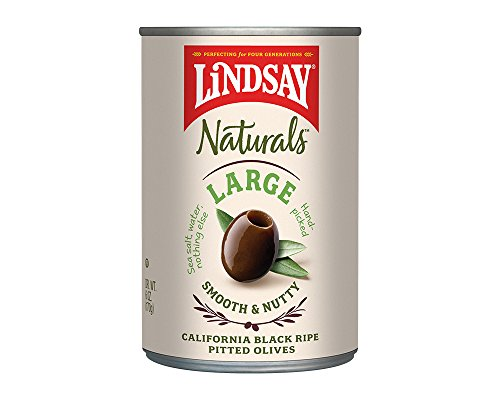 Lindsay Naturals Large Pitted Ripe Black Olives, 6 Ounce (Pack of 12)