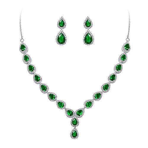 (BriLove Wedding Bridal CZ Necklace Earrings Jewelry Set for Women Teardrop Infinity Figure 8 Y-Necklace Dangle Earrings Set Emerald Color Silver-Tone May)