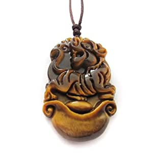 Ojo de tigre amuleto de la fortuna chino del zodiaco colgante