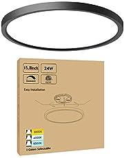 15.8 Inch Black Dimmable LED Flush Mount Ceiling Light 24W 3000K-4000K-5000K Selectable Ultra Thin Modern LED Surface Mount Ceiling Light for Dining Room Kitchen Bedroom, ETL FCC Listed, 1 Pack