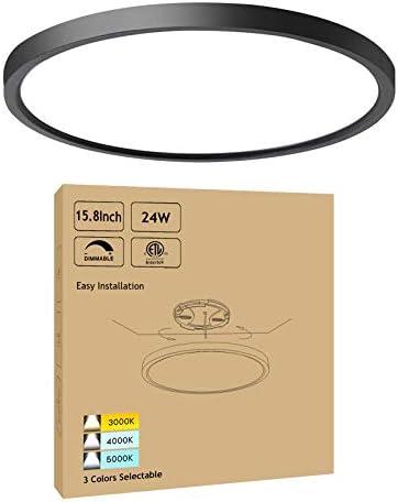 15.8Inch Black Dimmable LED Ceiling Light Flush Mount 24W 3000K-4000K-5000K Selectable - Ultra Thin Modern LED Surface Mount Ceiling Light for Kitchen Dining Room Bedroom, ETL FCC Listed, 1 Pack
