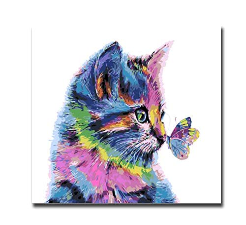 ZYCH Oil Painting Animal cat pro Butterfly Canvas Wall Art Modern Art Work Home Decoration Painting 20x24inch (50x60cm)