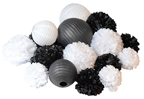 12' Black Tissue - 16pcs Paper black and white Pom Poms Flowers lantern Wedding Birthday event Party Decoration
