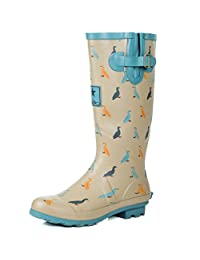 SPYLOVEBUY IGLOO Women's Adjustable Buckle Flat Welly Rain Boots