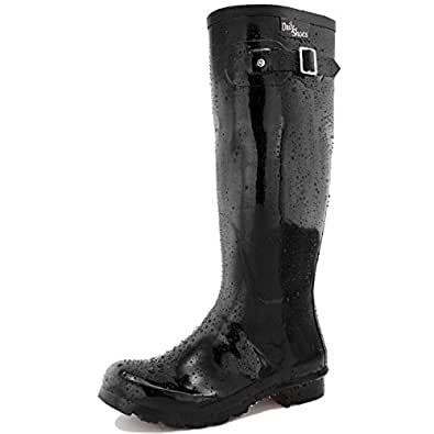 DailyShoes Women's Knee High Round Toe Rain Boots, Black - 5 B(M) US