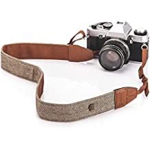 TARION Camera Shoulder Neck Strap Vintage Belt for All DSLR Camera Nikon Canon Sony Pentax Classic White and Brown Weave