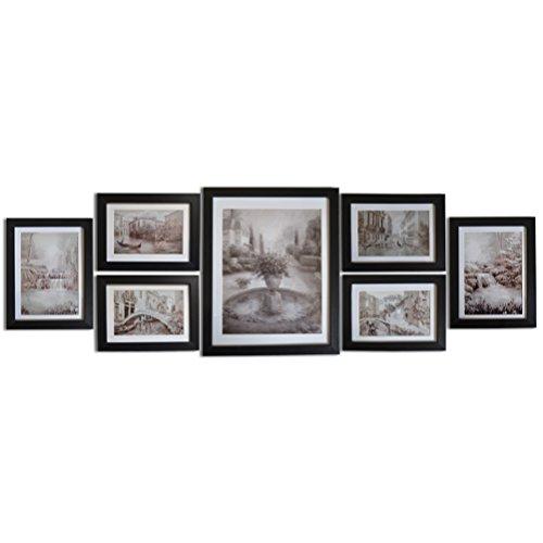 Giftgarden 7 PCS Black Picture Frames Set Wall Gallery Frame Kit, Four 4x6 and Two 5x7 and One 8x10
