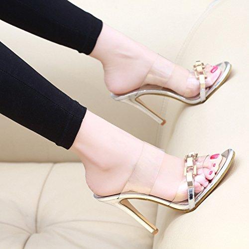 Golden con sandali UE Signore trasparenti pantofole sandali tacco sandali RUGAI e alto 1UPfFqn