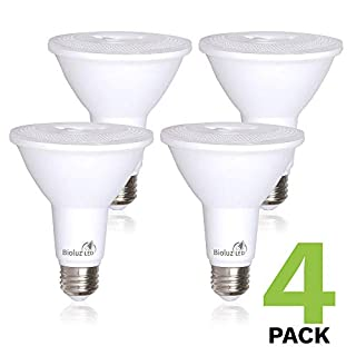 4 Pack Bioluz LED PAR38 LED Bulb 100-120 Watt Replacement Bulb (Uses 13 Watts) 3000K Dimmable Indoor/Outdoor UL Listed