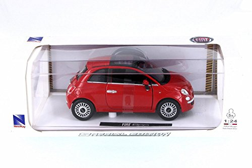 New Ray Fiat 500, Red 71016A-RD - 1/24 Scale Diecast Model Toy Car (Best Fiat 500 Model)