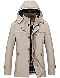 Vcansion Men's Cotton Lightweight Windbreaker Hoodie Jacket Trench Coat