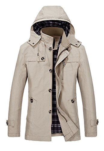 Vcansion Men's Cotton Windbreaker Hoodie Jacket Trench Coat Khaki - Ll Bean Mens Watches
