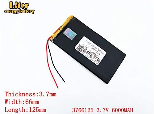 3.7V 6000mAh 3766125 Lithium Polymer Ion Rechargeable Battery Lithium Polymer Li-Po Battery for MP4 GPS MP3 Bluetooth Stereo DIY Gift