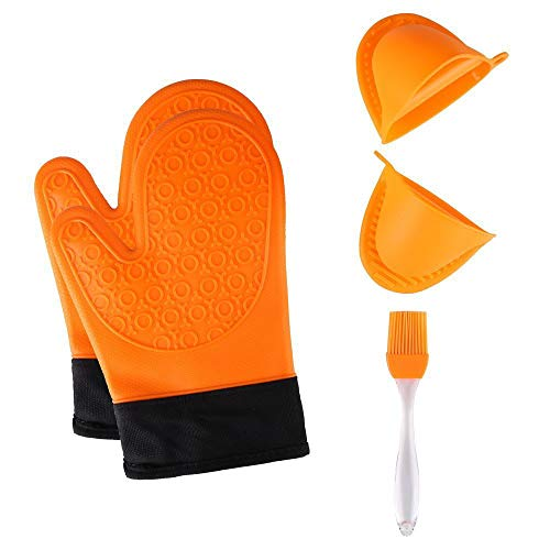 TOPBRY 041603 Heat Resistant Silicone Oven Gloves Non-Slip(1 Pair) for Kitchen Grilling Cooking and Baking& 2 Free Bonus Items-Brush & Pot Holder (Orange), 28 x 17 x 2.8 cm,]()