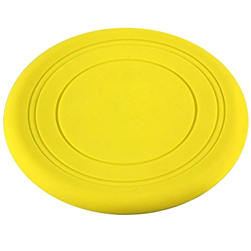 Dog Silicone Frisbee - Yellow - Cute Pet Flying Disc, Tooth Resistant, Outdoor Training, Fetch Toy