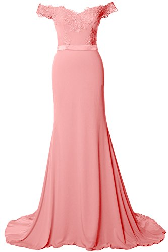 MACloth Women Off Shoulder Long Prom Dress 2017 Jersey Lace Evening Formal Gown Blush Pink