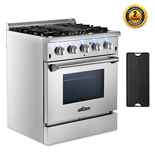 Thor Kitchen HRD3088U 30'' Dual Fuel Range Freestanding Professional Style with 4.2 cu.ft Convection Oven in Stainless Steel, 4 Burners, Cast-Iron Reversible Griddle (Best 30 Dual Fuel Range)