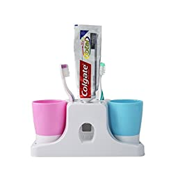 RC Kids Toothpaste Dispenser & Toothbrush Holders Set with Stand & 2 Tumbler Tooth Mugs, Press to Past Toothpaste Squeezer, Barthroom Organizer